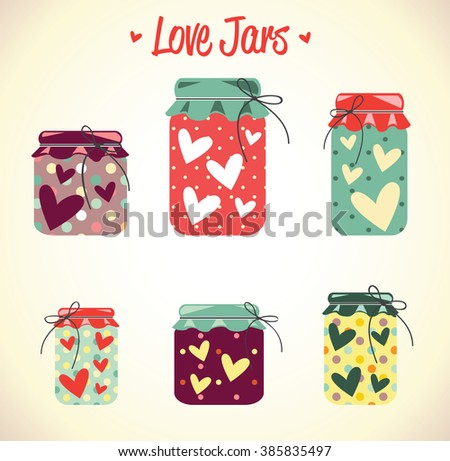 Love hearts mason jars, thanks card, valentine day, mother day, red, collection, vector - stock vector
