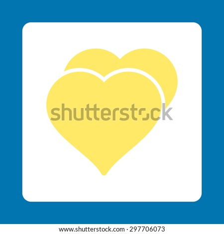 Love icon from Award Buttons OverColor Set. Icon style is yellow and white colors, flat rounded square button, blue background. - stock vector