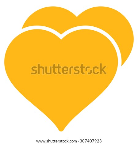 Love icon. Vector style is flat symbols, yellow color, rounded angles, white background. - stock vector