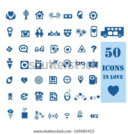 Love icons set - stock vector