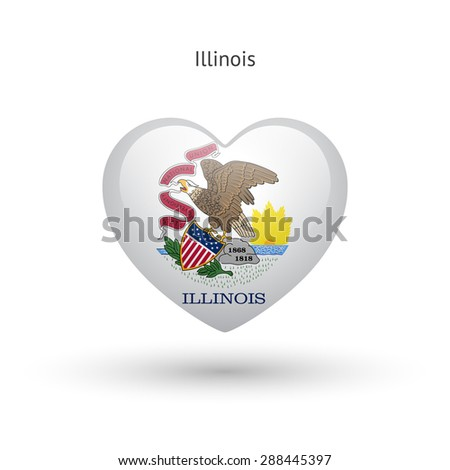 Love Illinois state symbol. Heart flag icon. Vector illustration. - stock vector