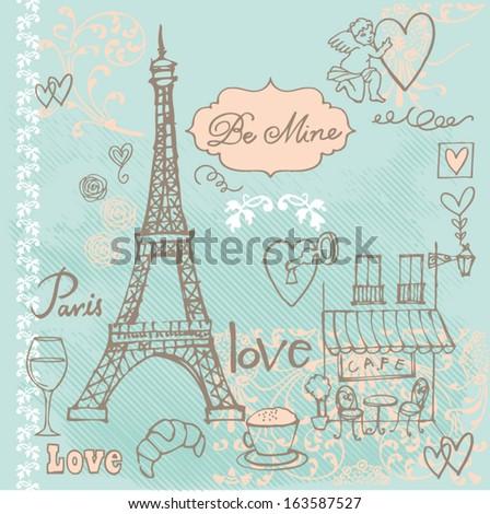 Love in Paris background  - stock vector