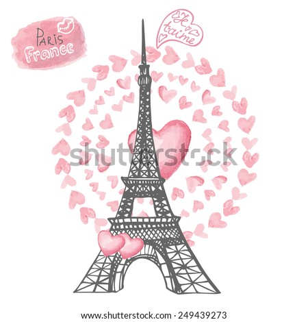 Love in Paris.Card with Eiffel tower,lettering,pink hearts wreath.Hand drawn doodle sketchy,watercolor decor.French words i love you.Vintage Vector illustration - stock vector