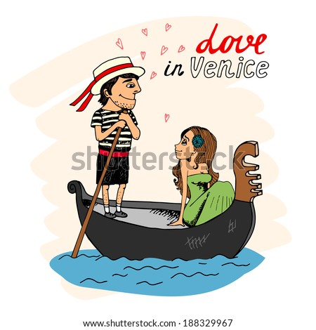 Love in Venice between a handsome gondolier and pretty young woman taking a trip in the gondola looking into each others eyes with hearts and text - Love in Venice - stock vector