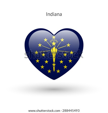 Love Indiana state symbol. Heart flag icon. Vector illustration. - stock vector