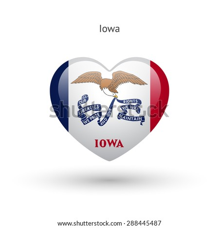 Love Iowa state symbol. Heart flag icon. Vector illustration. - stock vector