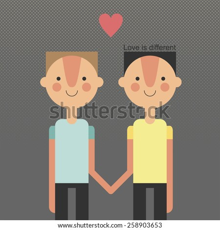 Love is different. gay family vector. heterosexual, gay couples - isolated vector illustration - stock vector