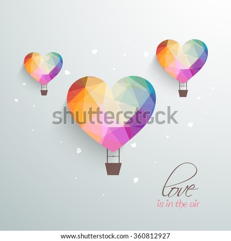 Love is in the Air, Creative hot air balloons in colorful origami heart shape for Happy Valentine's Day celebration. - stock vector