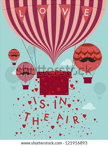 love is in the air hot air balloon template vector/illustration - stock vector