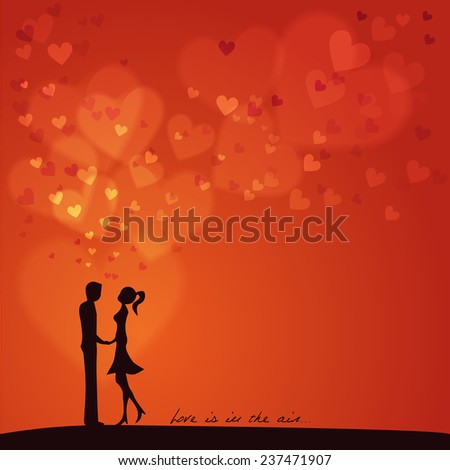 Love is in the air: Silhouette of two lovers on a red background with flying hearts - stock vector