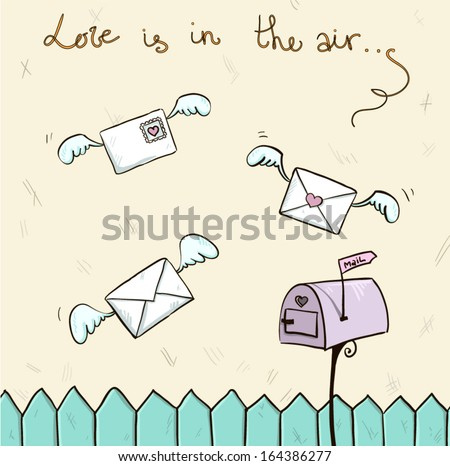 love is in the air. Winged letters, mailbox. St. Valentine's post. - stock vector