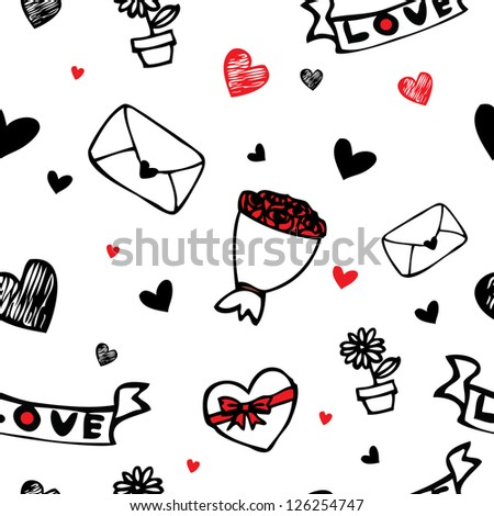 Love letter , hearts and flower cartoon drawing seamless pattern background for valentine day - stock vector