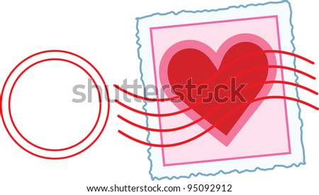 Love Letter Stamp An image of a Valentine stamp, with a postal cancellation mark over the area of the stamp. - stock vector
