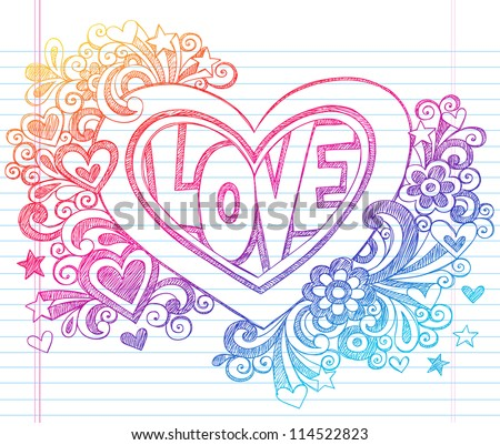 Love Lettering Heart Back to School Sketchy Notebook Doodles with Flowers, Stars, Swirls- Hand-Drawn Vector Illustration Design Element on Lined Sketchbook Paper Background - stock vector