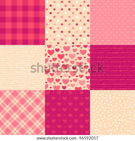 Love letters. Collection of 9 elegant seamless patterns on the theme of romance and love - stock vector