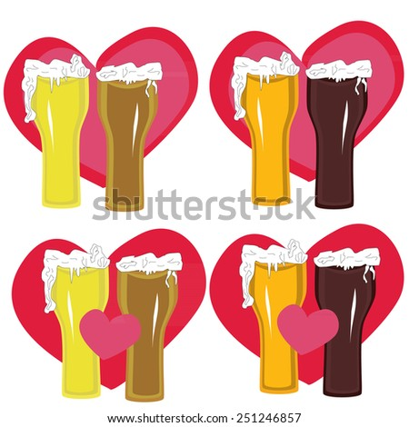 Love light and dark beer on background of heart - stock vector