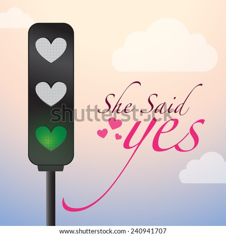 Love Lights - Creative Concept. She Said yes Road Sign with Birds sitting on wire, love ok yellow light, love approved green light .illustration - stock vector