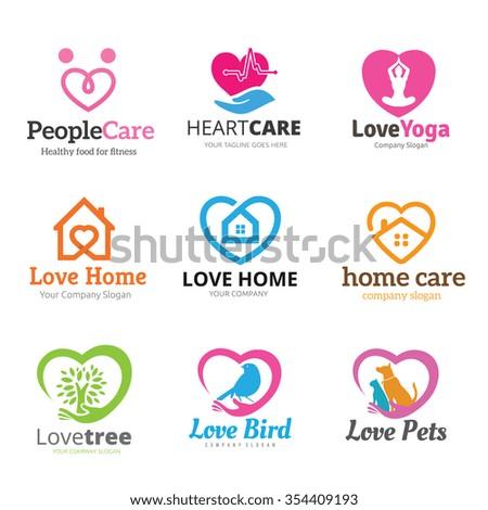 Love Logo collection,Heart logo concept,Vector logo template - stock vector