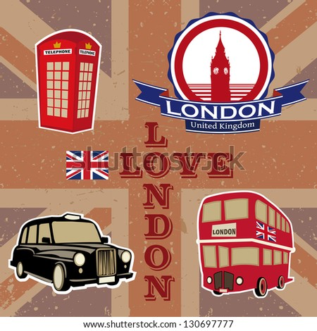 Love London. Stickers - stock vector