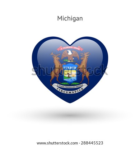 Love Michigan state symbol. Heart flag icon. Vector illustration. - stock vector
