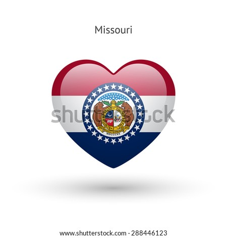 Love Missouri state symbol. Heart flag icon. Vector illustration. - stock vector