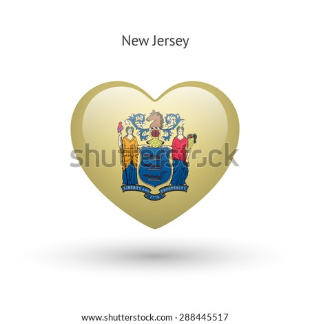 Love New Jersey state symbol. Heart flag icon. Vector illustration. - stock vector