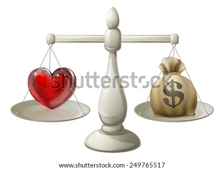 Love or money concept with love heart being weighed against money sack on scales - stock vector