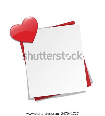 Love paper note on wall with red heart magnet isolated on white background - stock vector