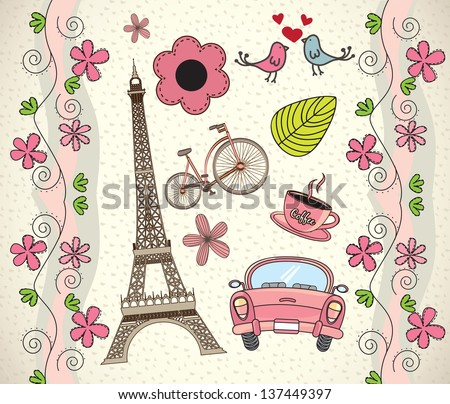 Love Paris background with different icons vector illustration - stock vector