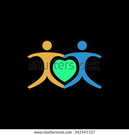 Love people - heart. Color vector icon on black background - stock vector