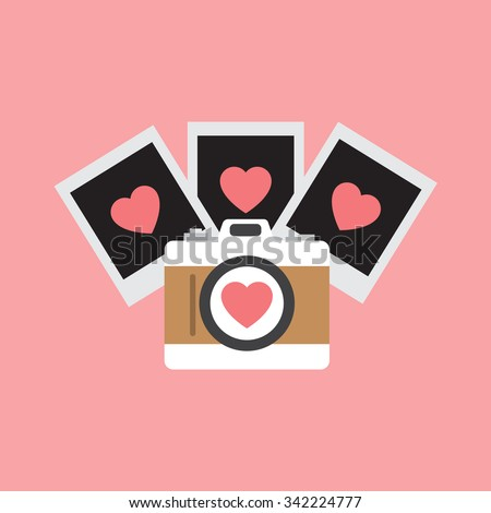Love photo camera with hearts - stock vector