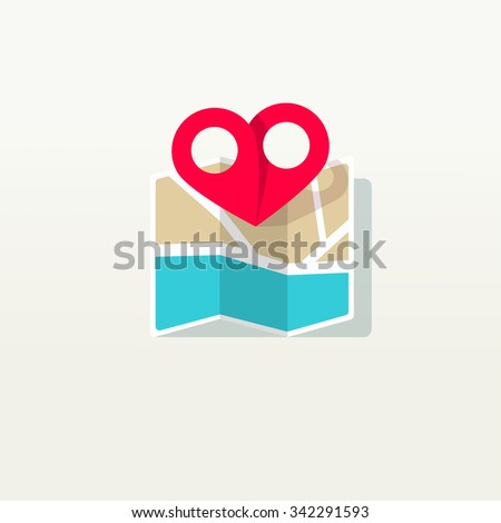 Love place pin pointer with city map logo icon, heart shaped find marker label, concept, destination, amour wedding isolated on white background flat style icon modern brand design vector illustration - stock vector