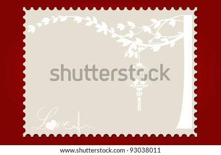 Love postcard with birds and tree. Vector Illustration. - stock vector