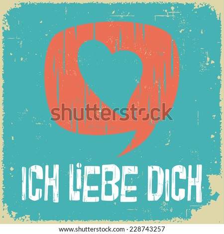 Love poster in German. Retro style. International series. - stock vector