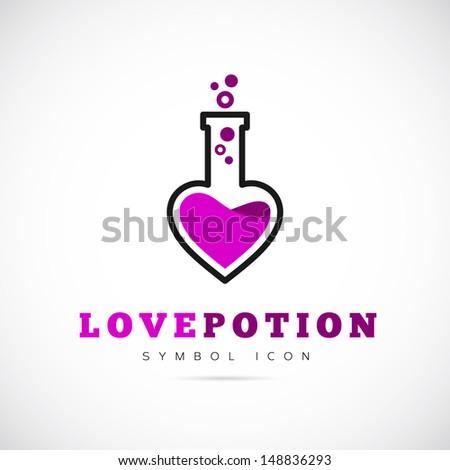 Love potion symbol icon or Logo Template - stock vector