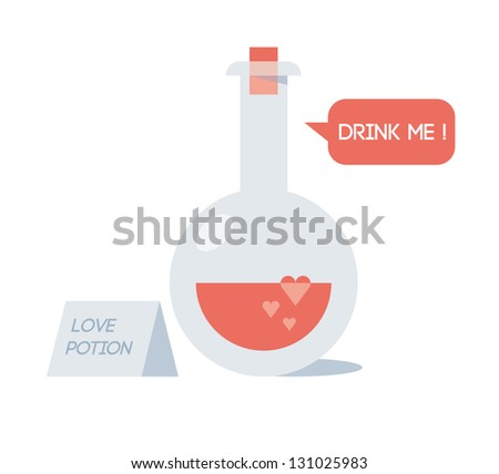 Love potion with love elixir saying Drink me! - stock vector