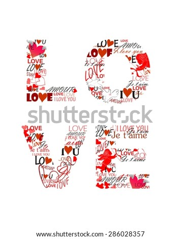Love. Print for Valentines day - stock vector