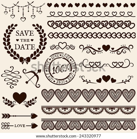 Love, romance and wedding decorations set. Collection of elements for valentine's greeting cards, wedding invitations, page and website decor or any other romantic design. Vector illustration.   - stock vector