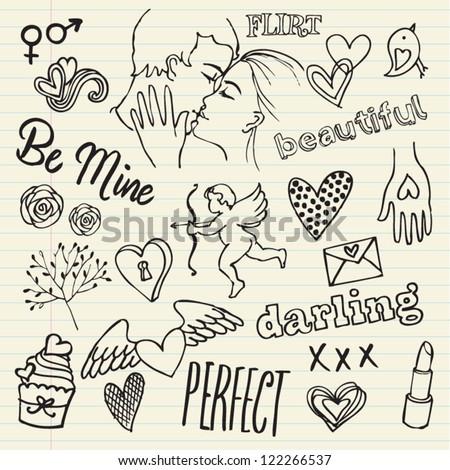 Love & romance doodles - stock vector