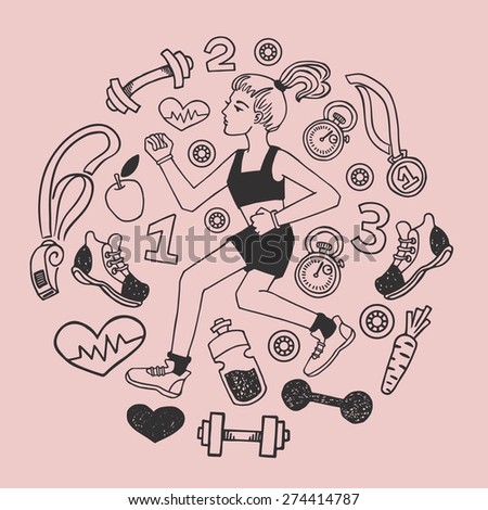 Love run girl pink vector icons set. Healthy lifestyle background - stock vector