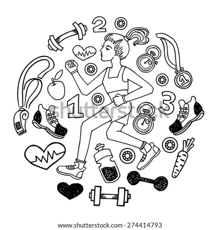 Love run girl  white and black vector icons set. Healthy lifestyle background - stock vector
