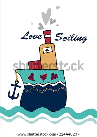 love sailing post card - stock vector