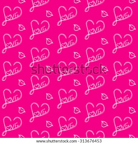 Love seamless pattern on a pink background of white painted heart and a kiss . - stock vector