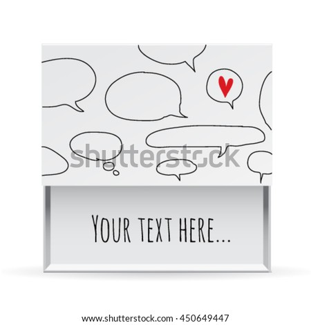 Love small white gift box, frame with a cloud and message. Greeting card. Love vector illustration easy editable for design. - stock vector