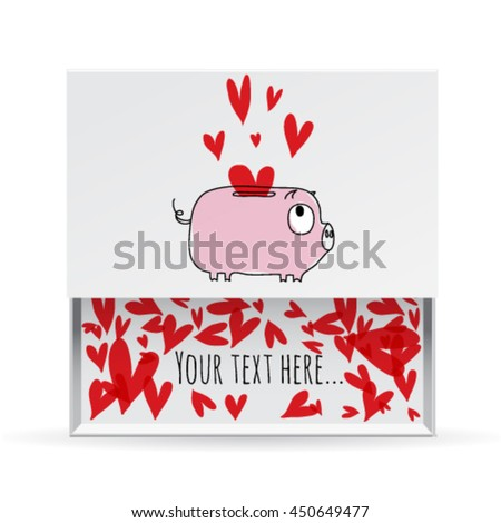 Love small white gift box, frame with a piggy bank and message. Greeting card. Love vector illustration easy editable for design. - stock vector