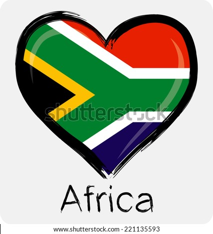 love South African flag - stock vector