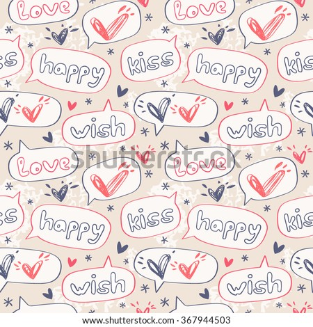 Love speech bubbles. Background in the concept of children's drawings.Vector seamless pattern for web page backgrounds, postcards, greeting cards, invitations, pattern fills, surface textures. - stock vector