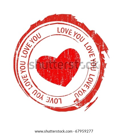 Love stamps, heart - stock vector