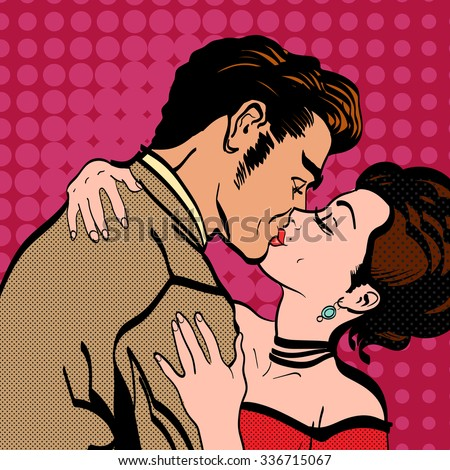 Love story lovers kissing man kisses a woman retro style pop art - stock vector