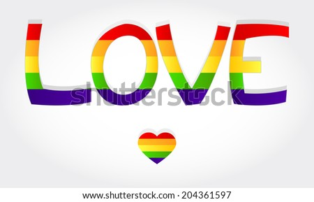 Love stylized word with rainbow and one heart. Love word - stock vector